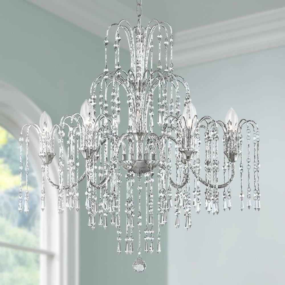 """Well Known Vienna Crystal Chandeliers Within Crystal Rain 29"""" Wide 6 Light Crystal Chandelier – – Amazon (View 3 of 15)"""