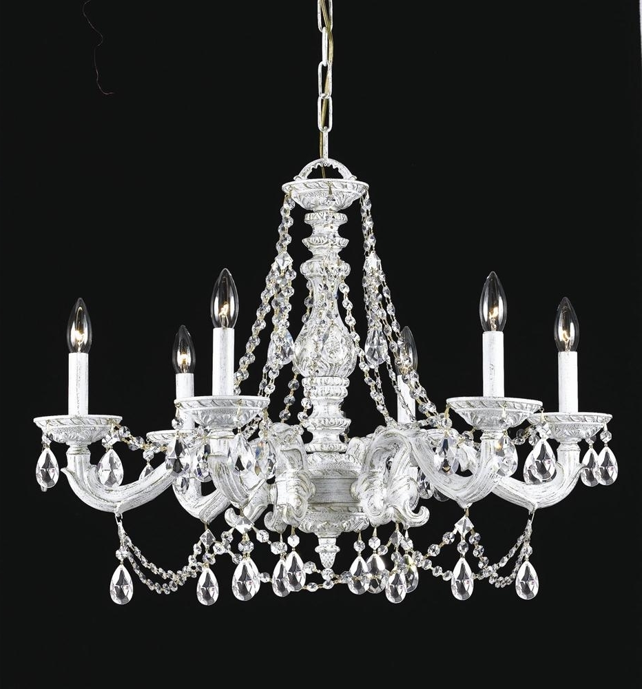 Well Known White And Crystal Chandeliers Regarding Buy 6 Lights Antique White Spectra Crystal Chandelier (View 9 of 15)