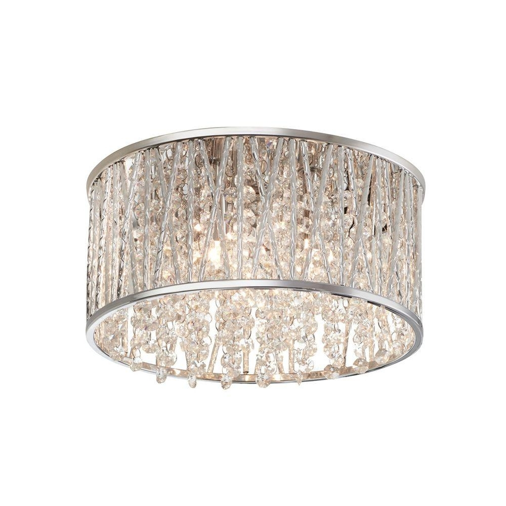 Well Liked Chrome – Flushmount Lights – Lighting – The Home Depot Within Wall Mount Crystal Chandeliers (View 15 of 15)