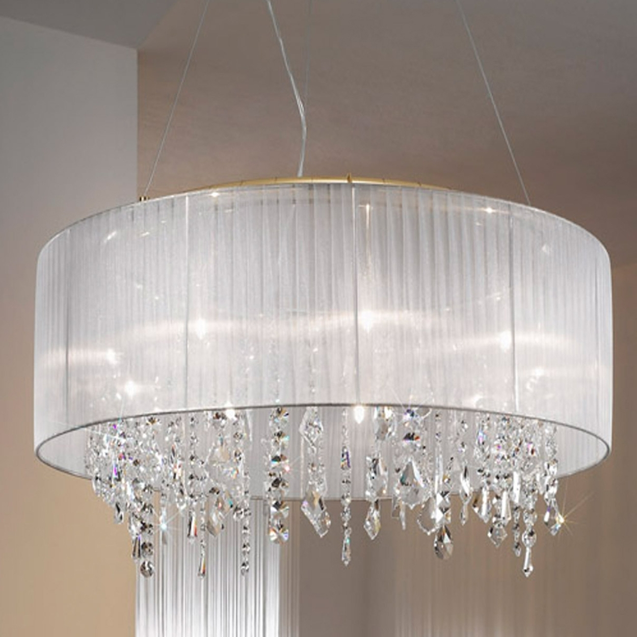 Well Liked Glamorous Barrel Lamp Shade Chandelier Drum Chandeliers Shades Of With Lampshade Chandeliers (View 15 of 15)