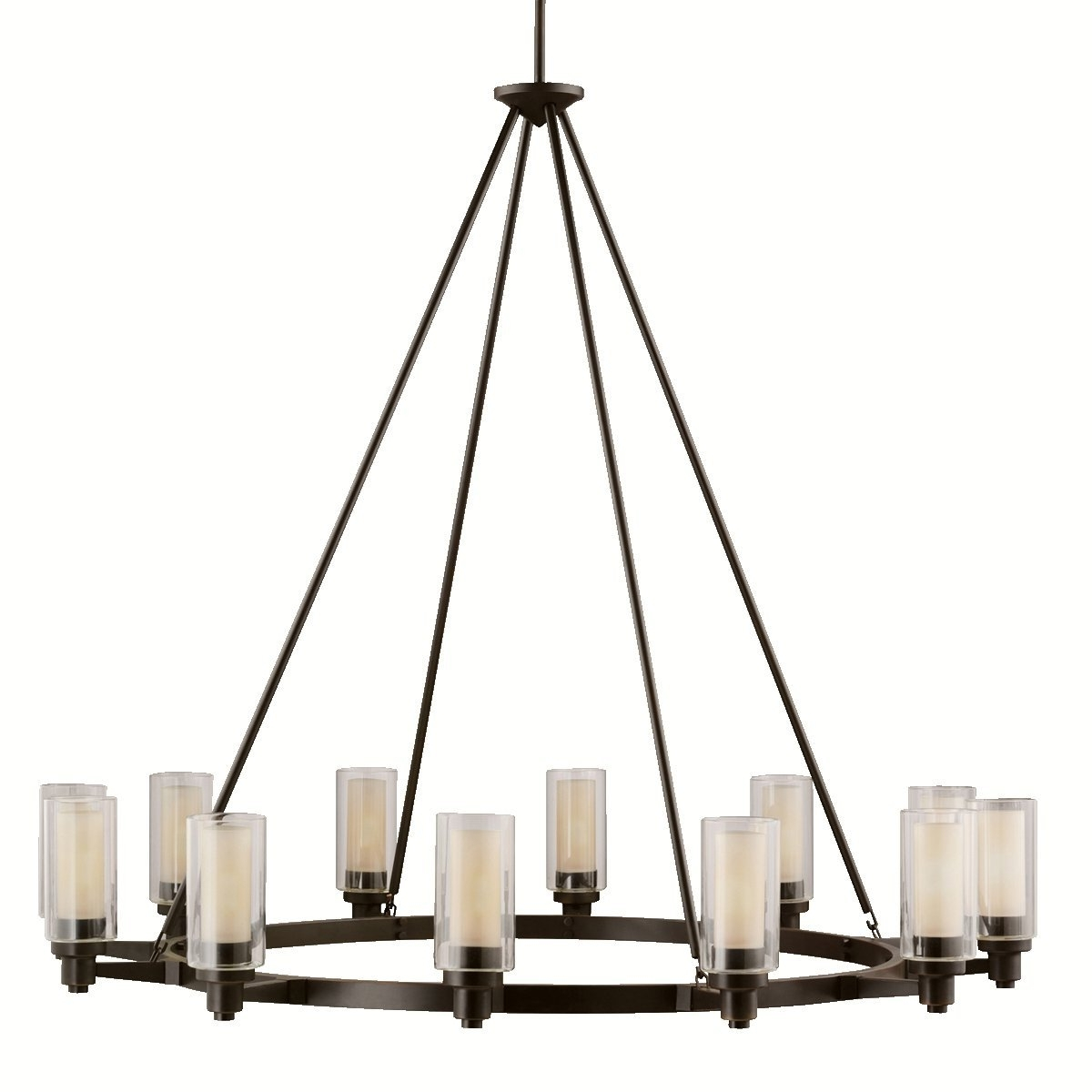 Well Liked Kichler 2347Ni 12 Light Chandelier – – Amazon With Regard To Large Bronze Chandelier (View 15 of 15)