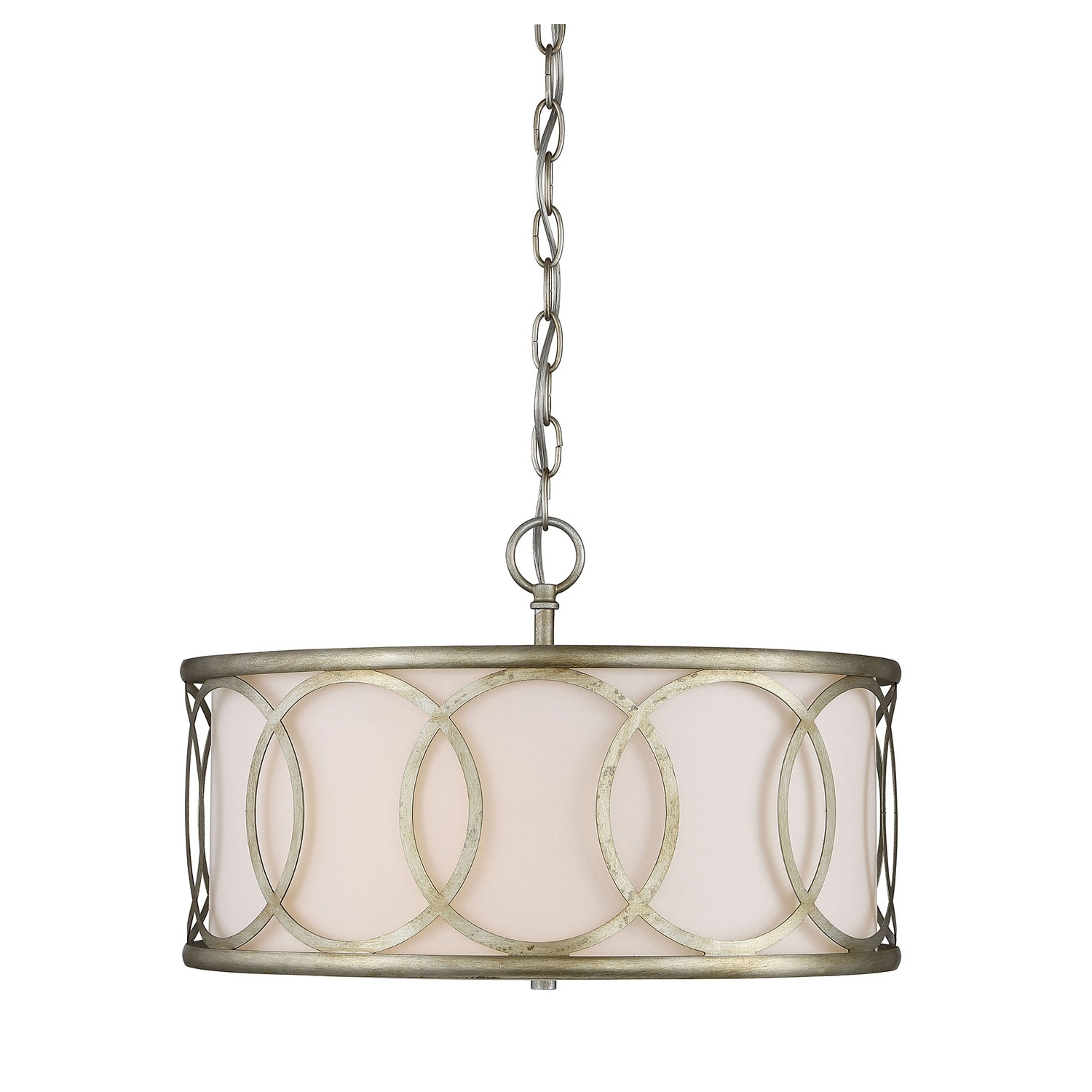 Well Liked Metal Drum Chandeliers With Regard To 251 First Linden Argentum Three Light Drum Pendant On Sale (View 15 of 15)