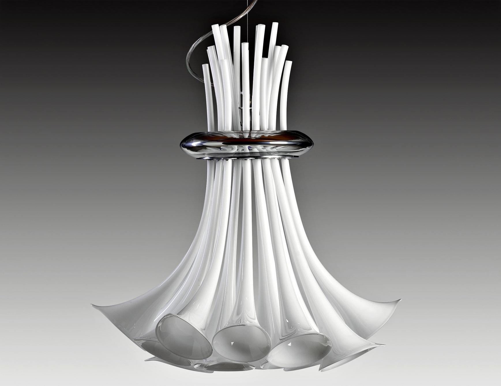 Well Liked Nella Vetrina Zante 10002 Italian Hanging Light White Murano Glass Intended For Modern Italian Chandeliers (View 11 of 15)
