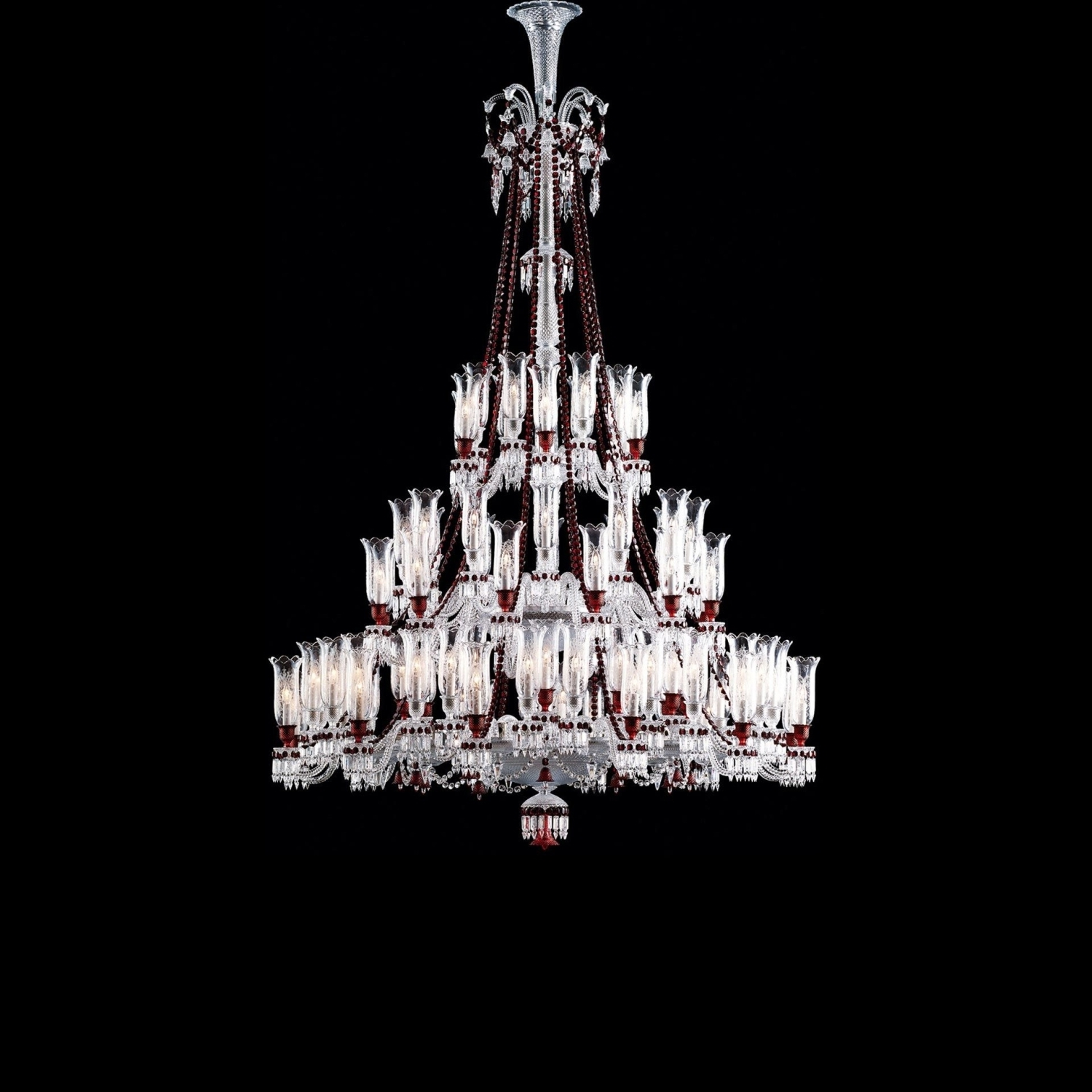 Well Liked Red Chandeliers Throughout Chandelier Clear And Red 84L Baccarat Zenith (View 15 of 15)