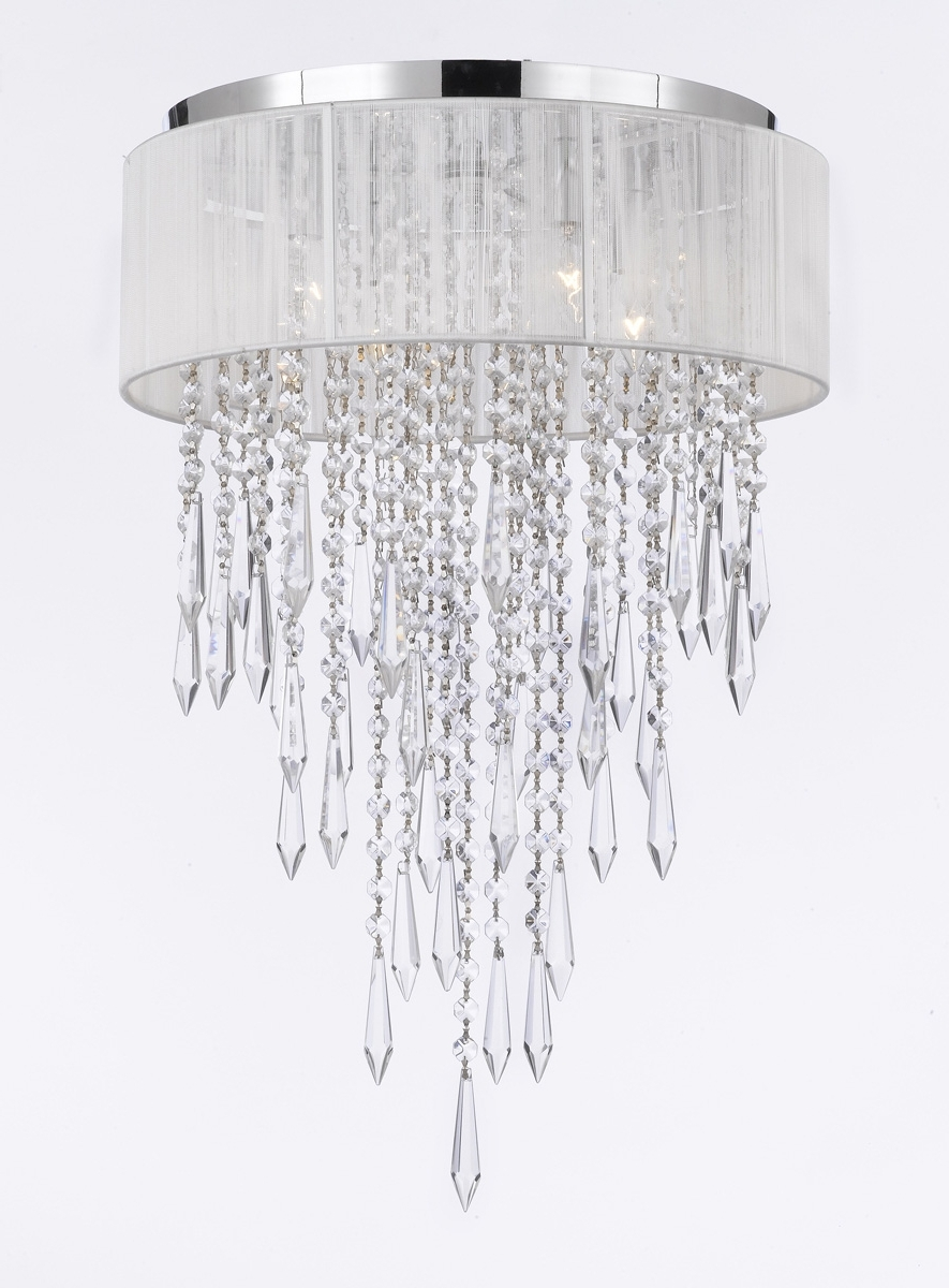 White And Crystal Chandeliers Regarding 2017 G7 B27/b12/white/2130/4 Gallery Chandeliers Flushmount 4 Light (View 8 of 15)