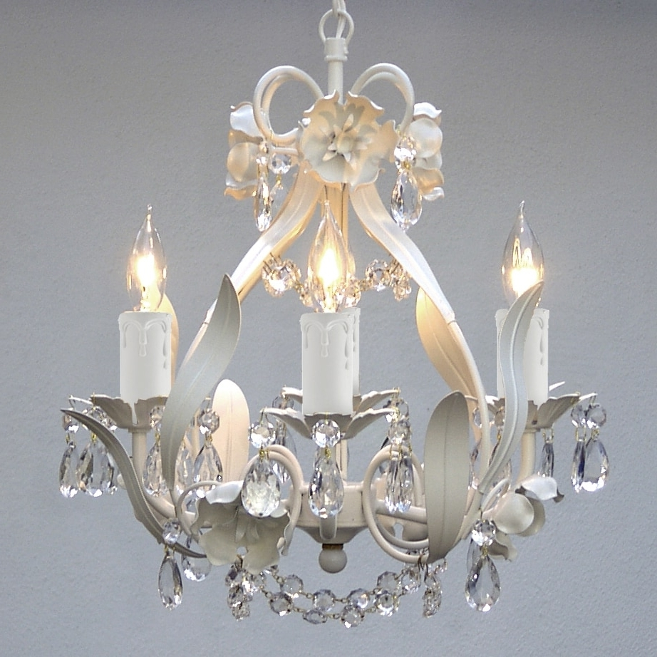 White And Crystal Chandeliers Throughout 2018 Gallery Mini 4 Light White Floral Crystal Chandelier – Free Shipping (View 15 of 15)