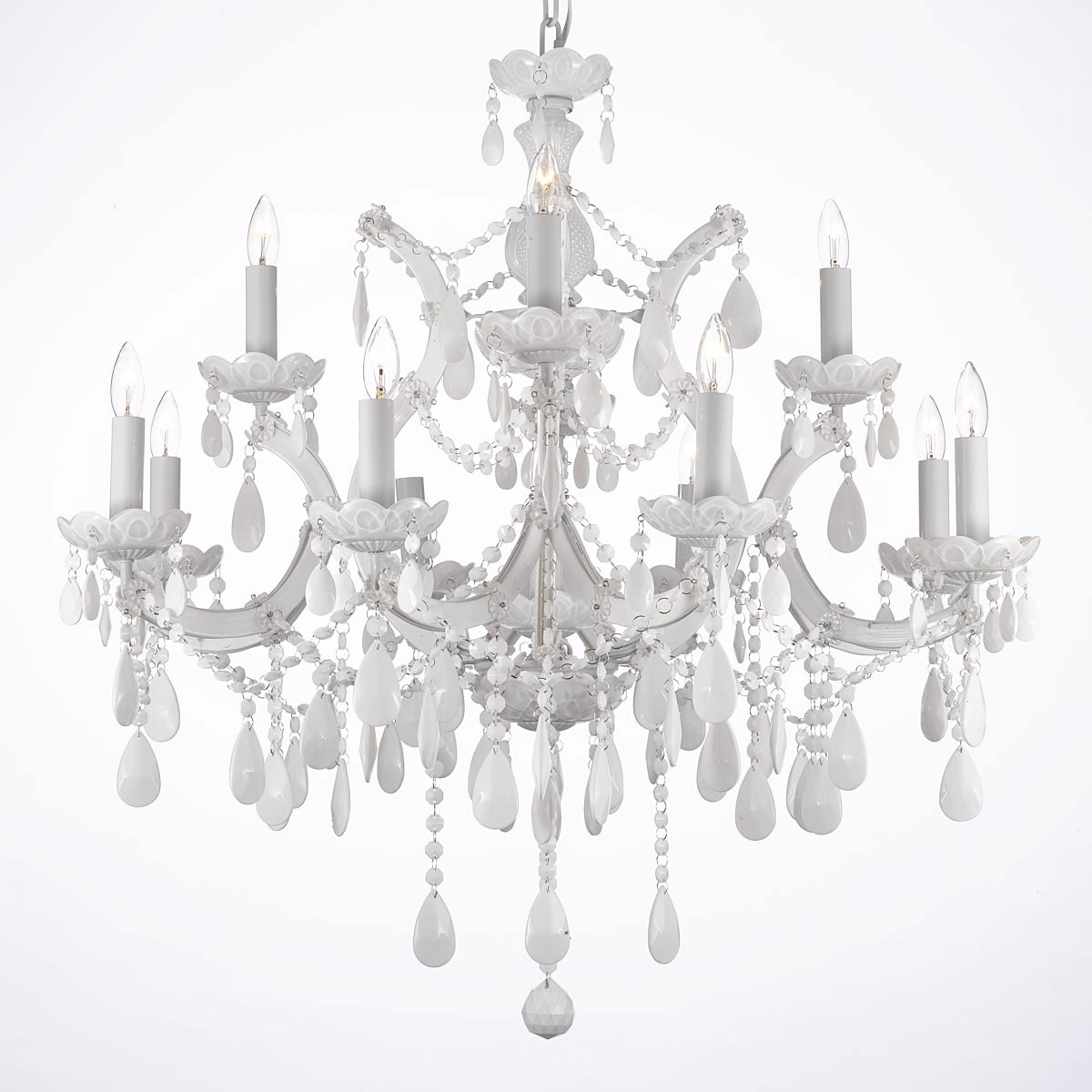 White And Crystal Chandeliers With Well Known White Chandeliers – Thejots (View 12 of 15)