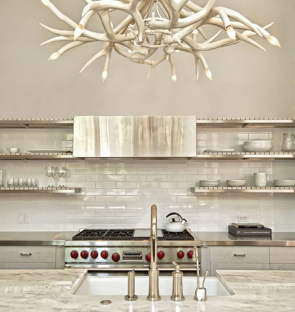 White Antler Chandelier Displaying Unique And Rustic Details In Your Pertaining To Well Liked White Antler Chandelier (View 10 of 15)