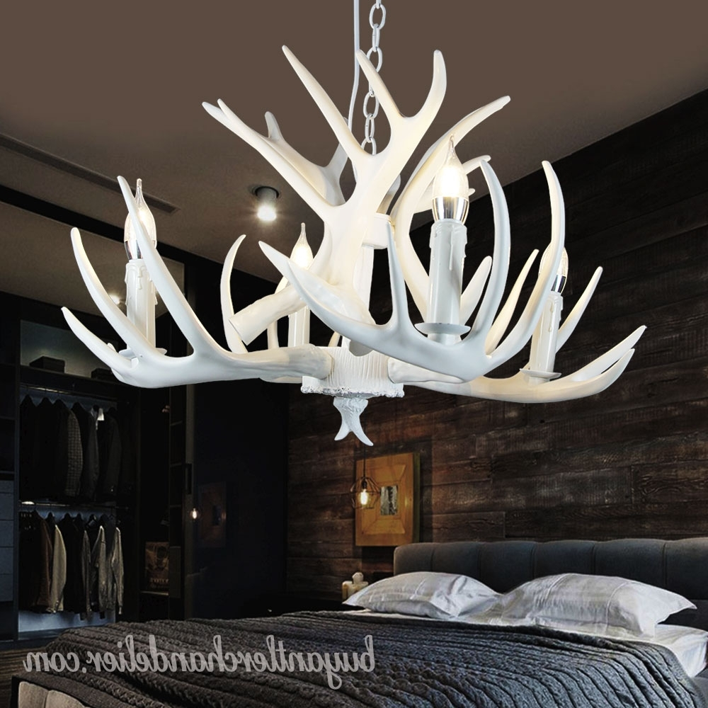 White Antler Chandelier In Widely Used Pure White Deer Antler Chandelier Ceiling Lights Bedroom Lighting (View 4 of 15)