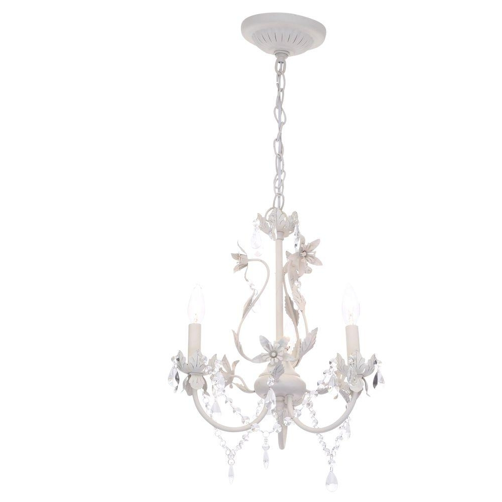 White Chandelier Intended For Most Up To Date Hampton Bay Kristin 3 Light Antique White Hanging Mini Chandelier (View 11 of 15)
