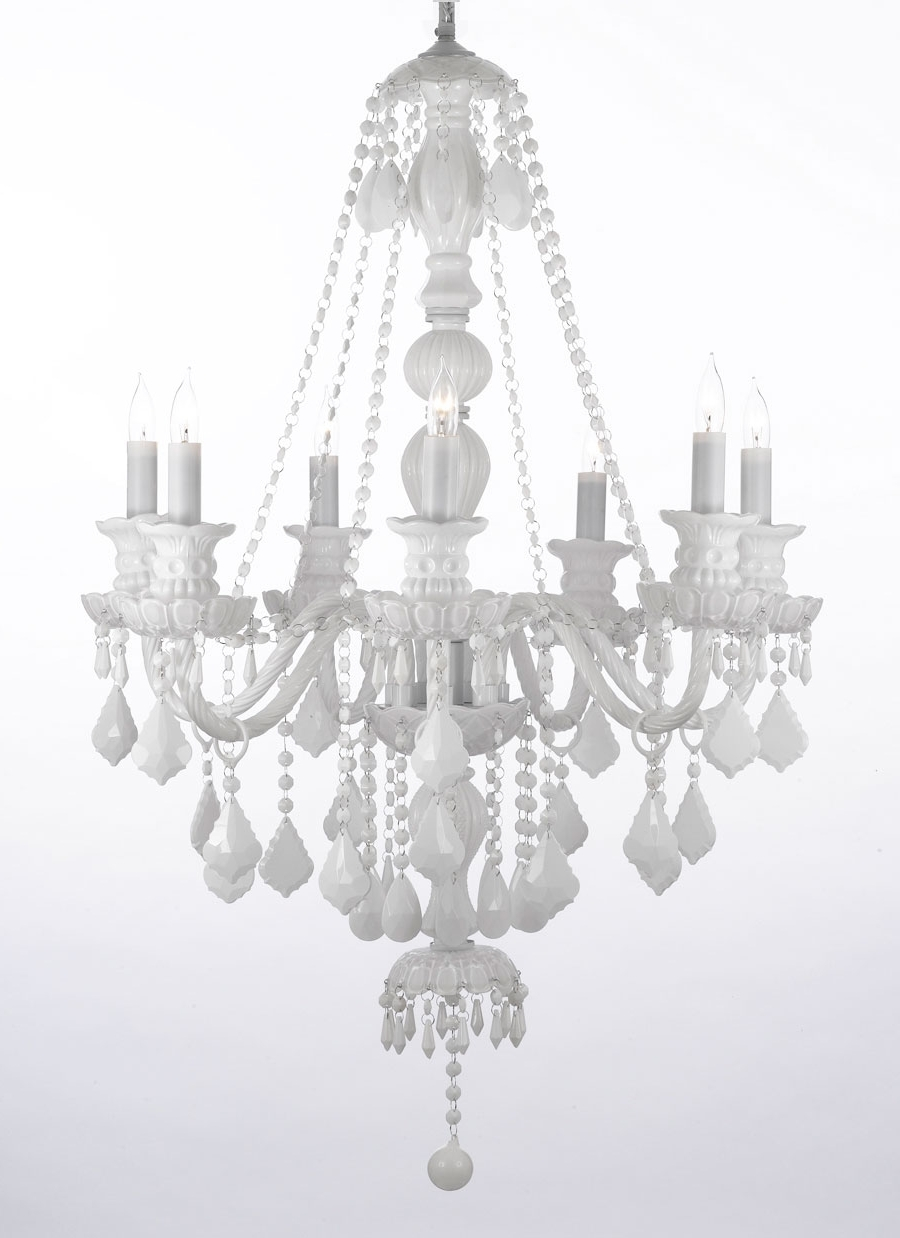 White Chandelier With Regard To Most Up To Date G46 White/sm/490/7 Gallery Murano Venetian Style Snow White Crystal (View 12 of 15)