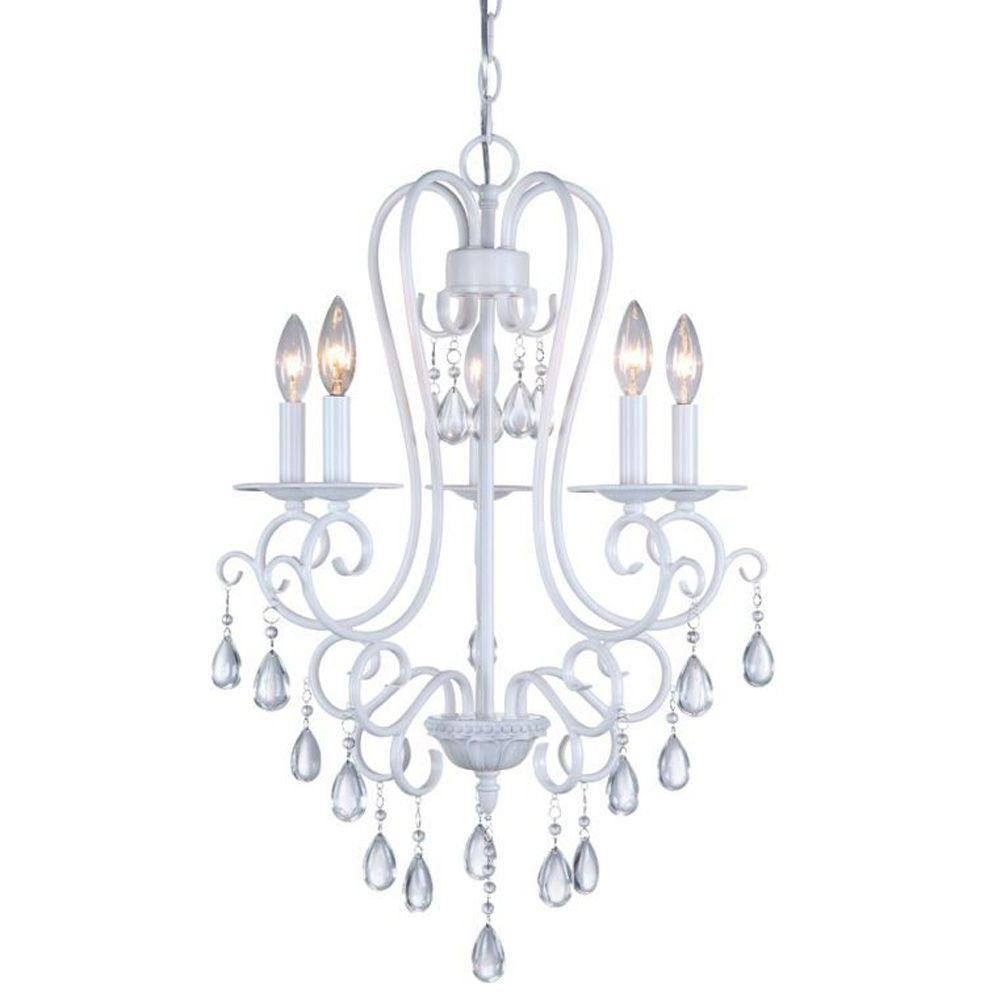 White Chandeliers Throughout Trendy Dsi 5 Light White Mini Chandelier With Crystal Accents 16196 – The (View 9 of 15)
