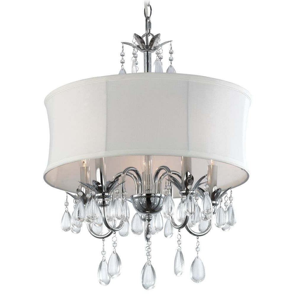 White Drum Shade Crystal Chandelier Pendant Light (View 13 of 15)