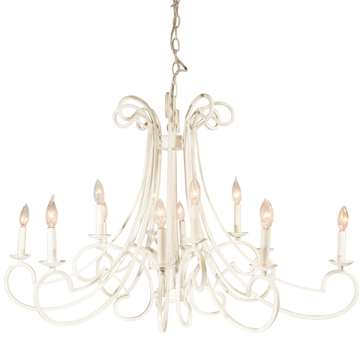 White Metal Chandelier – Celebrations! Party Rentals Within Well Known White Chandelier (View 11 of 15)