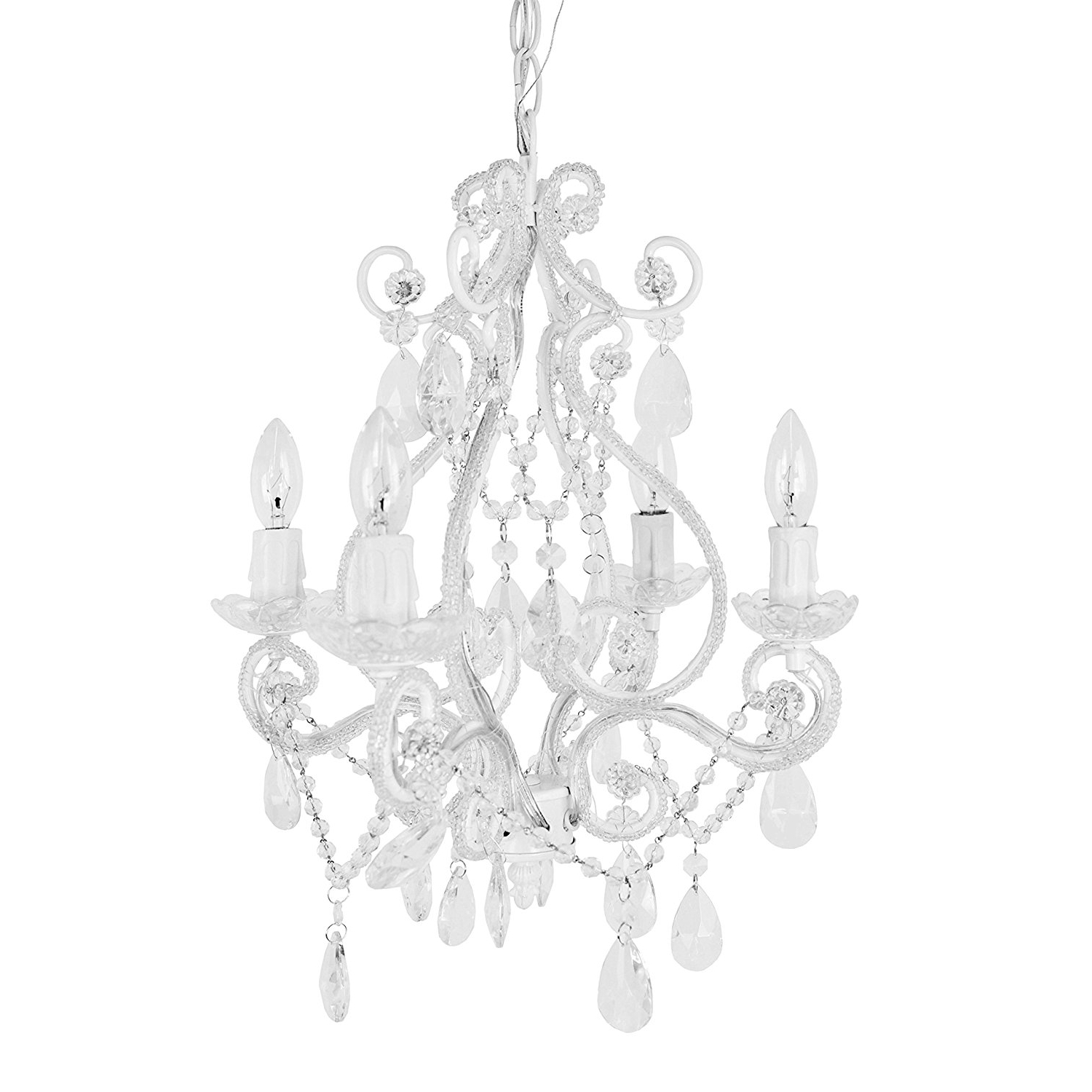 Widely Used Amazon : Tadpoles 4 Bulb Vintage Plug In Mini Chandelier, White Inside White Chandelier (View 15 of 15)