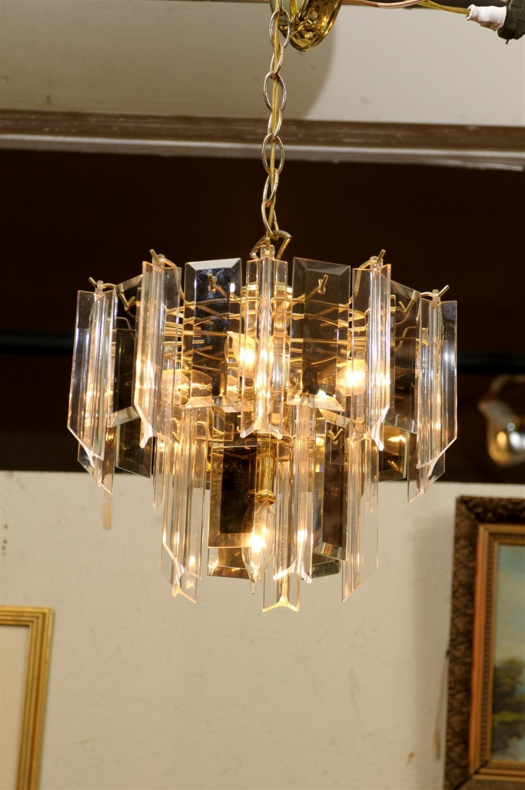 Widely Used Brass Beveled Glass Chandelier – Chandelier Designs With Regard To Smoked Glass Chandelier (View 6 of 15)