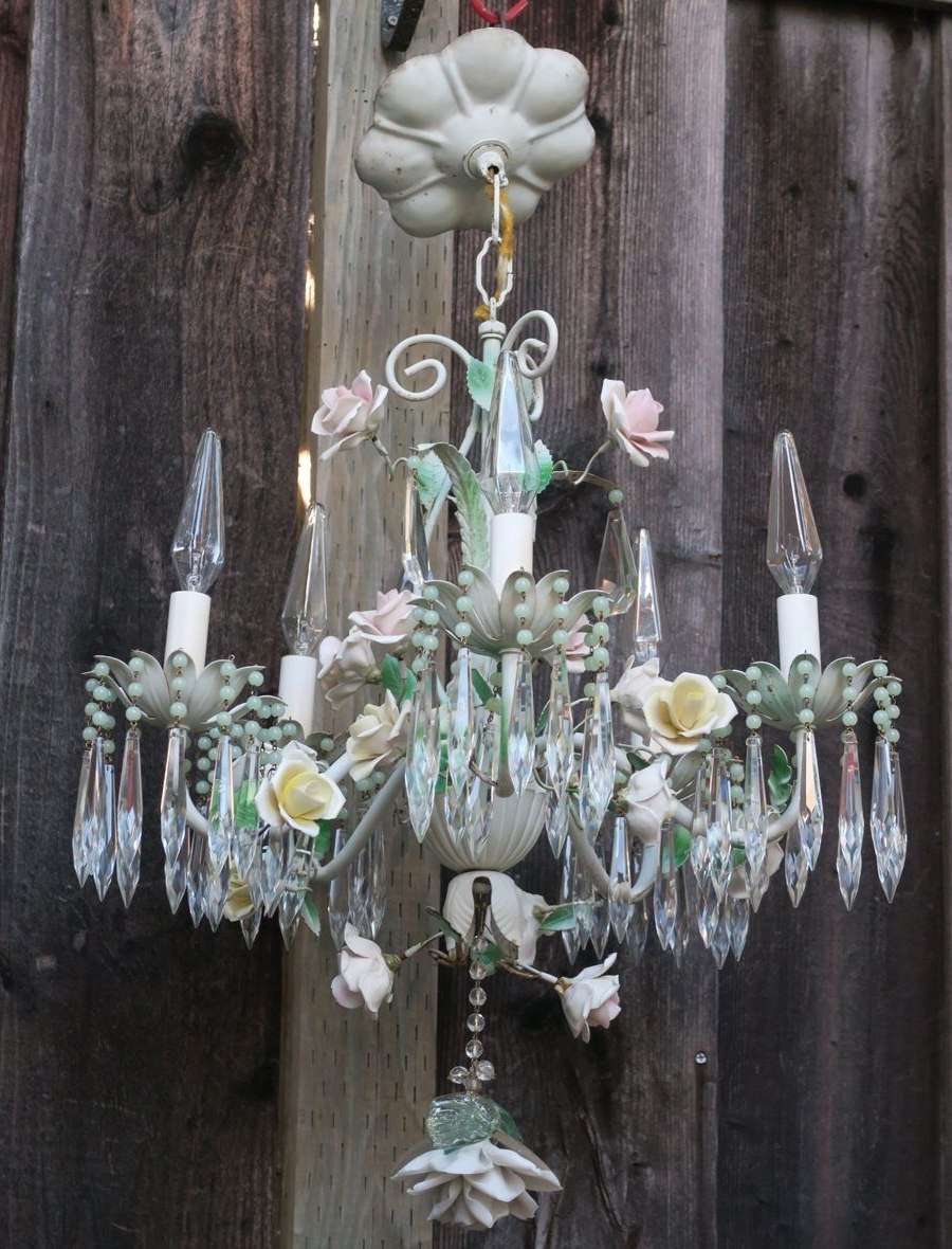Widely Used Chandelier French Antique Shabby Tole Beaded Barbola Cabbage Rose With Regard To Ornate Chandeliers (View 14 of 15)