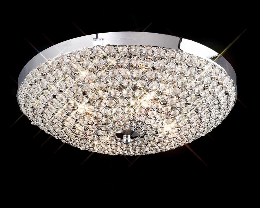 Widely Used Flush Fitting Chandelier Regarding Kula 4 Light Crystal Chrome Flush Ceiling Fitting (View 12 of 15)