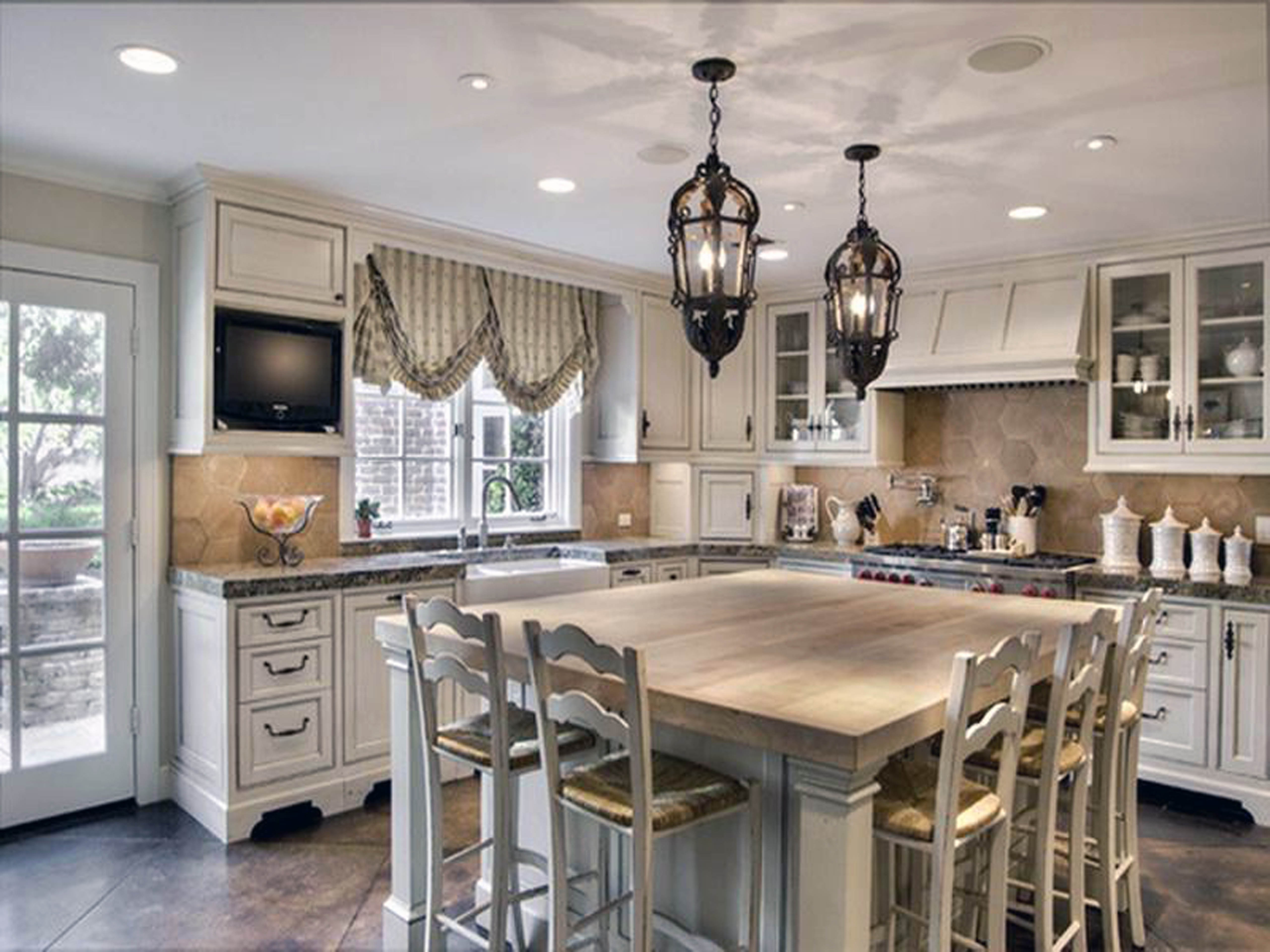 Widely Used French Country Chandeliers For Kitchen Within Black Iron French Country Chandelier Lamp Shades Above Solid Wooden (View 5 of 15)