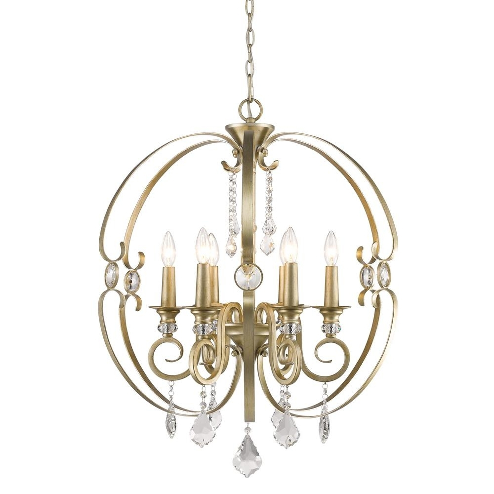 Widely Used Golden Lighting Ella 6 Light French White Chandelier Light 1323 6 Fw For Gold Modern Chandelier (View 15 of 15)