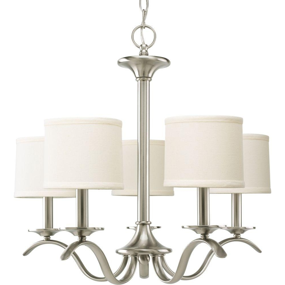 Widely Used Linen Chandeliers Regarding Progress Lighting Inspire Collection 5 Light Brushed Nickel (View 12 of 15)