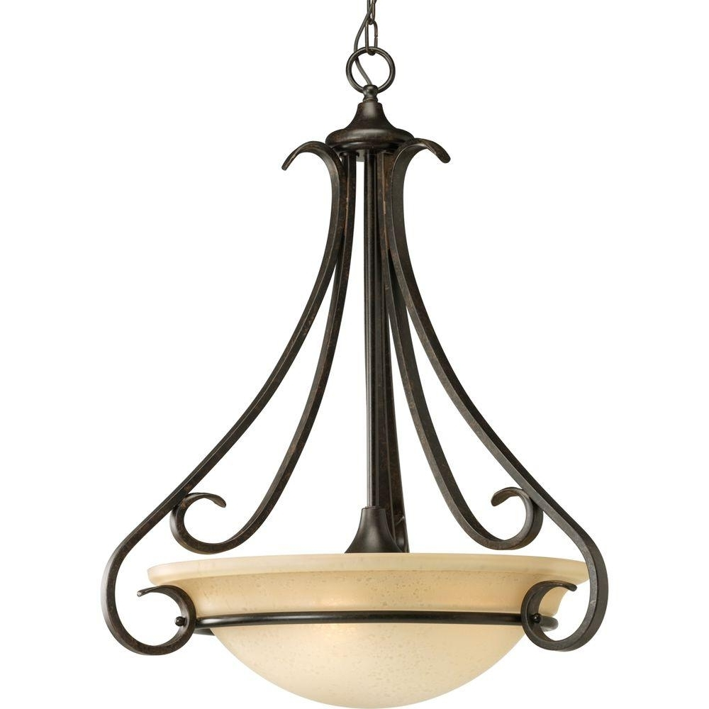 Widely Used Progress Lighting Torino Collection 3 Light Forged Bronze Foyer Throughout Inverted Pendant Chandeliers (View 15 of 15)