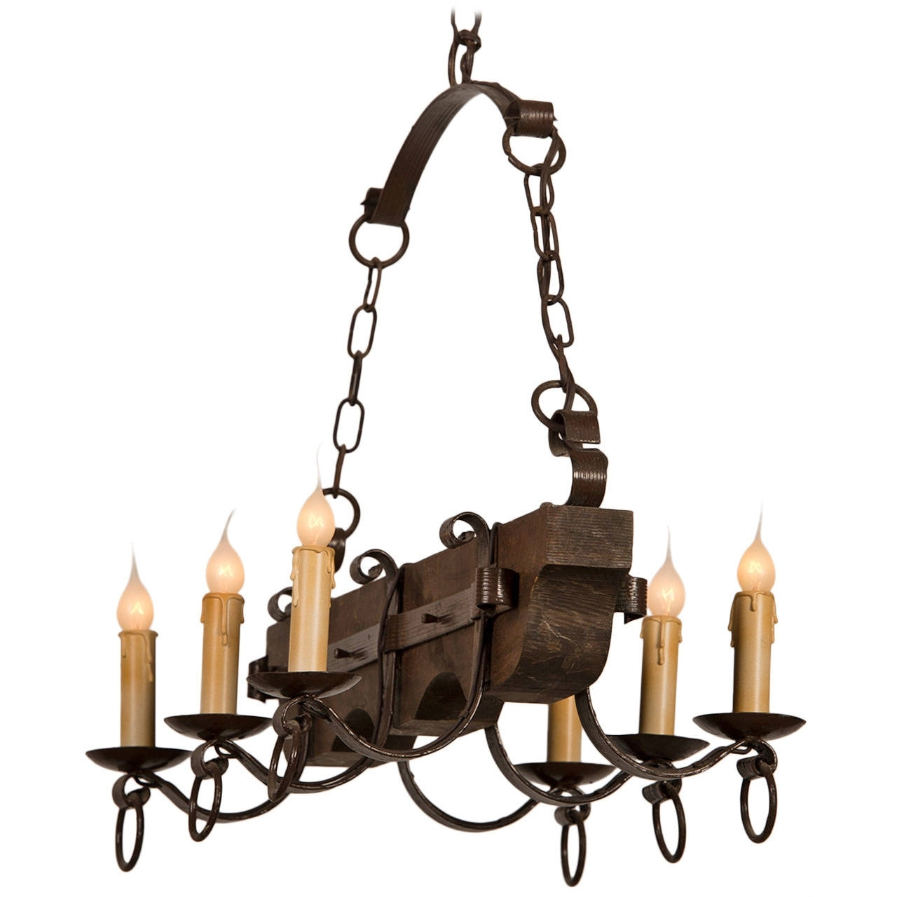Widely Used Rustic Kitchen Or Dining Room Lighting Ideas With Vertical Wooden With Regard To Vintage Wrought Iron Chandelier (View 13 of 15)