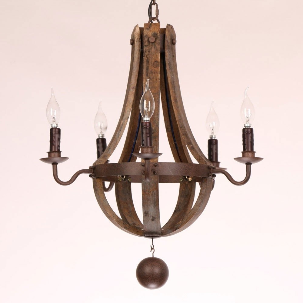 Widely Used Rustic Wine Barrel Stave Reclaimed Wood & Rust Metal Chandelier With Within Metal Chandeliers (View 8 of 15)