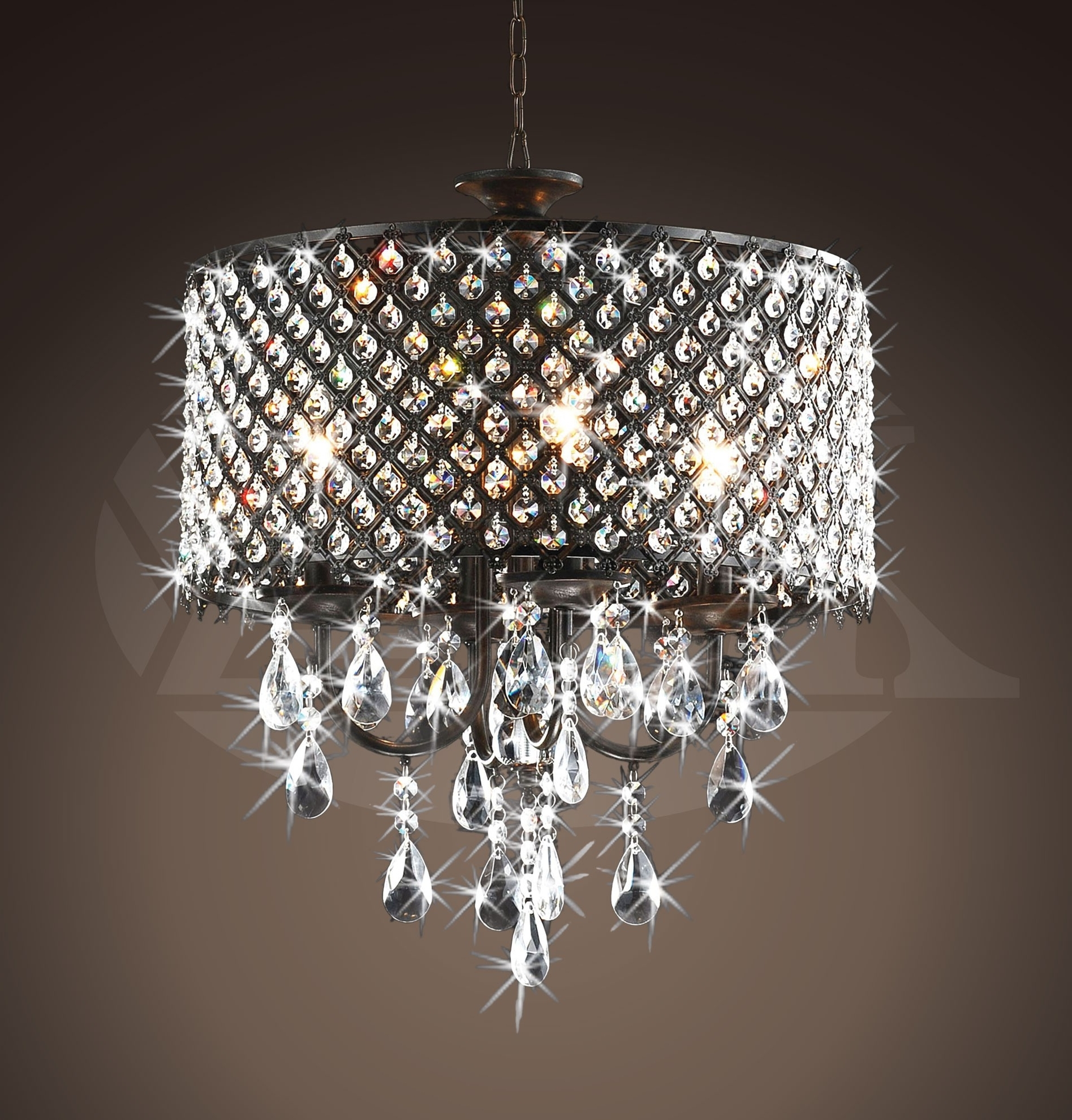 Widely Used Sparkly Chandeliers For Rachelle 4 Light Round Antique Bronze Brass Crystal Chandelier (View 2 of 15)