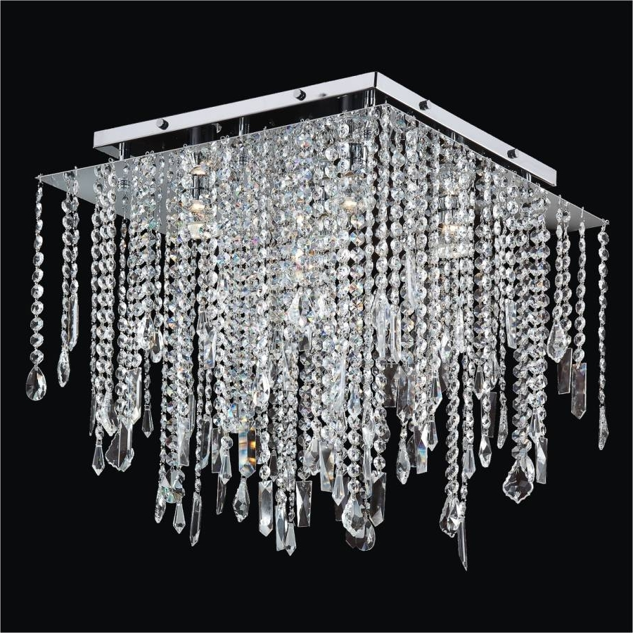 Widely Used Square Crystal Ceiling Light – Crystal Drop Flush Ceiling Light Within Flush Chandelier Ceiling Lights (View 11 of 15)