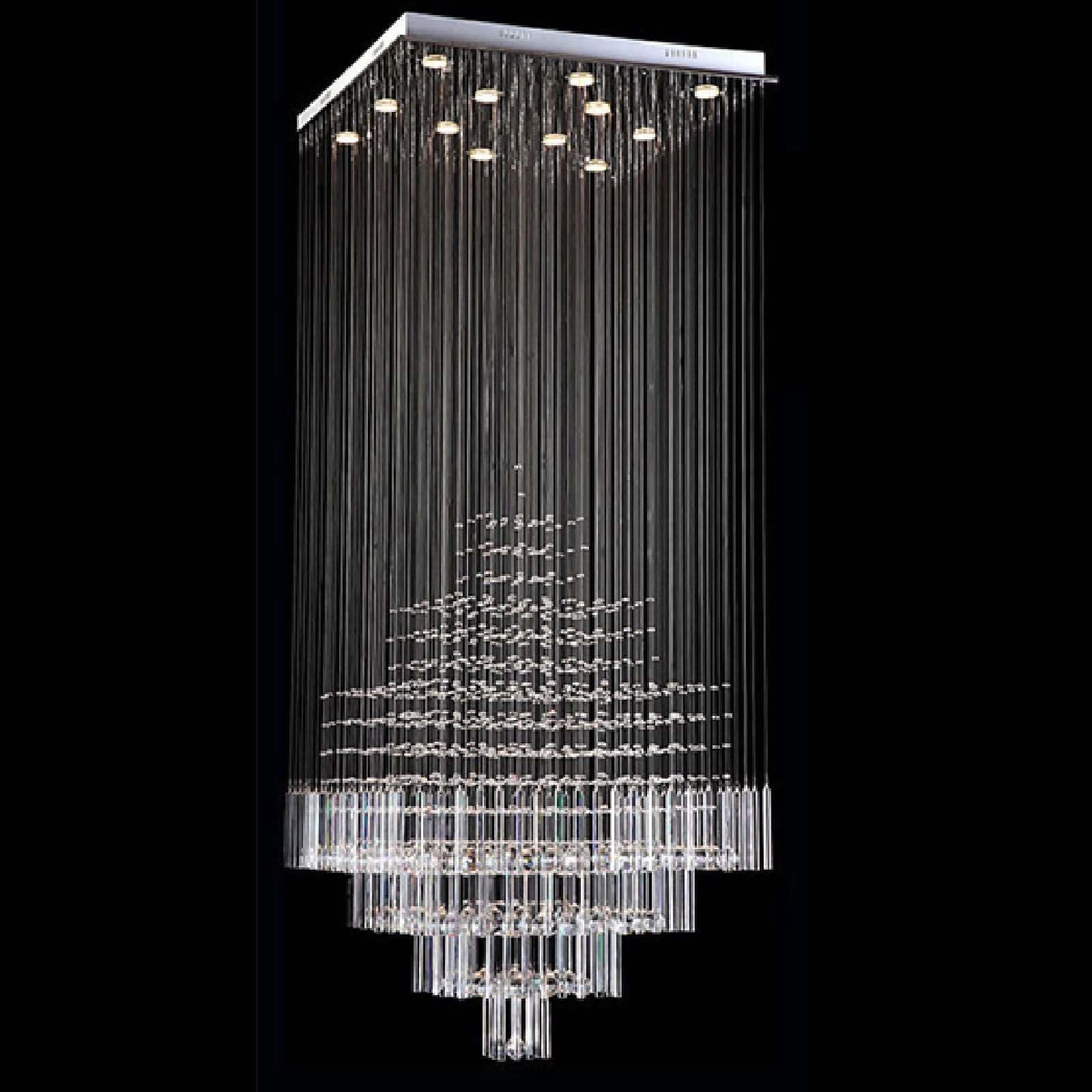 Widely Used Ultra Modern Chandeliers Regarding Byb® Modern Chandelier Rain Drop Lighting Square Crystal Ball (View 15 of 15)