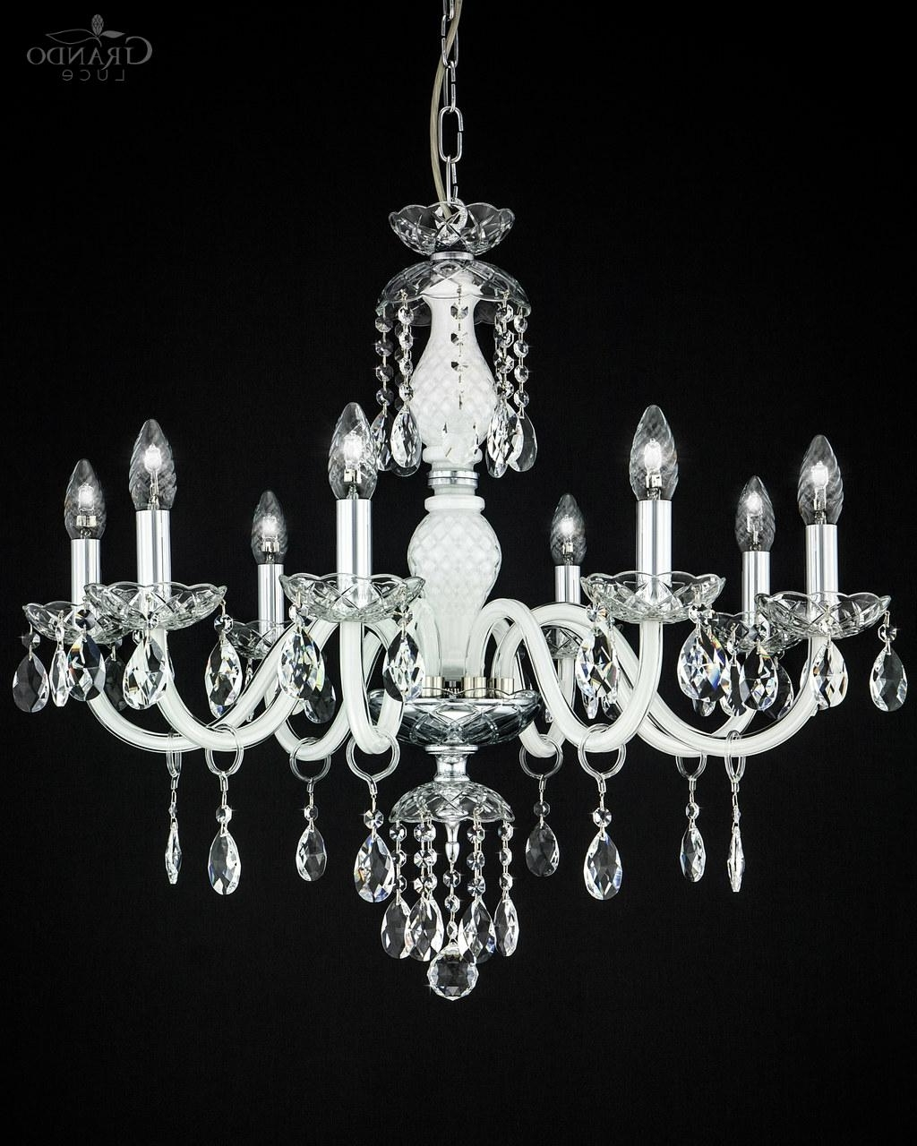 Widely Used White And Crystal Chandeliers In 104/ch 8 Chrome White Crystal Chandelier With Swrovski Spectra (View 14 of 15)