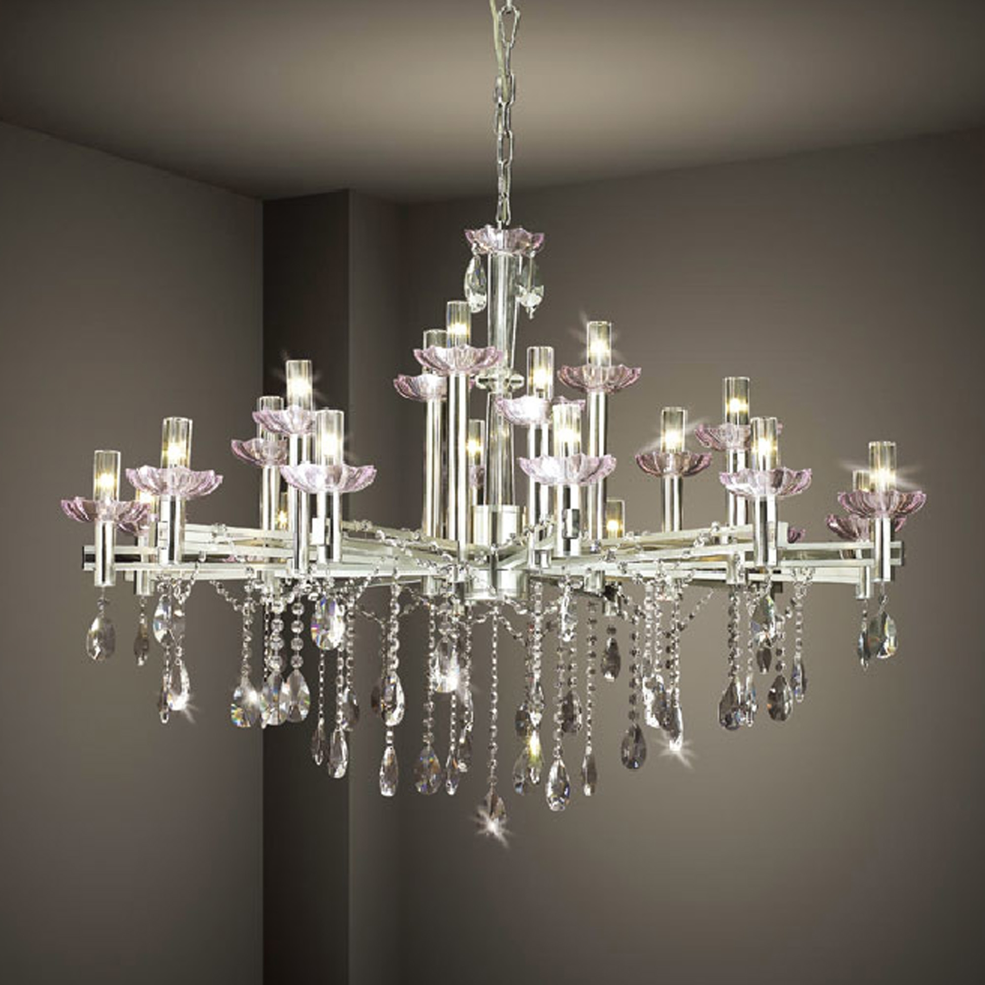 Widely Used White And Crystal Chandeliers In Hanging Modern Crystal Chandelier Lighting With Stainless Steel (View 6 of 15)