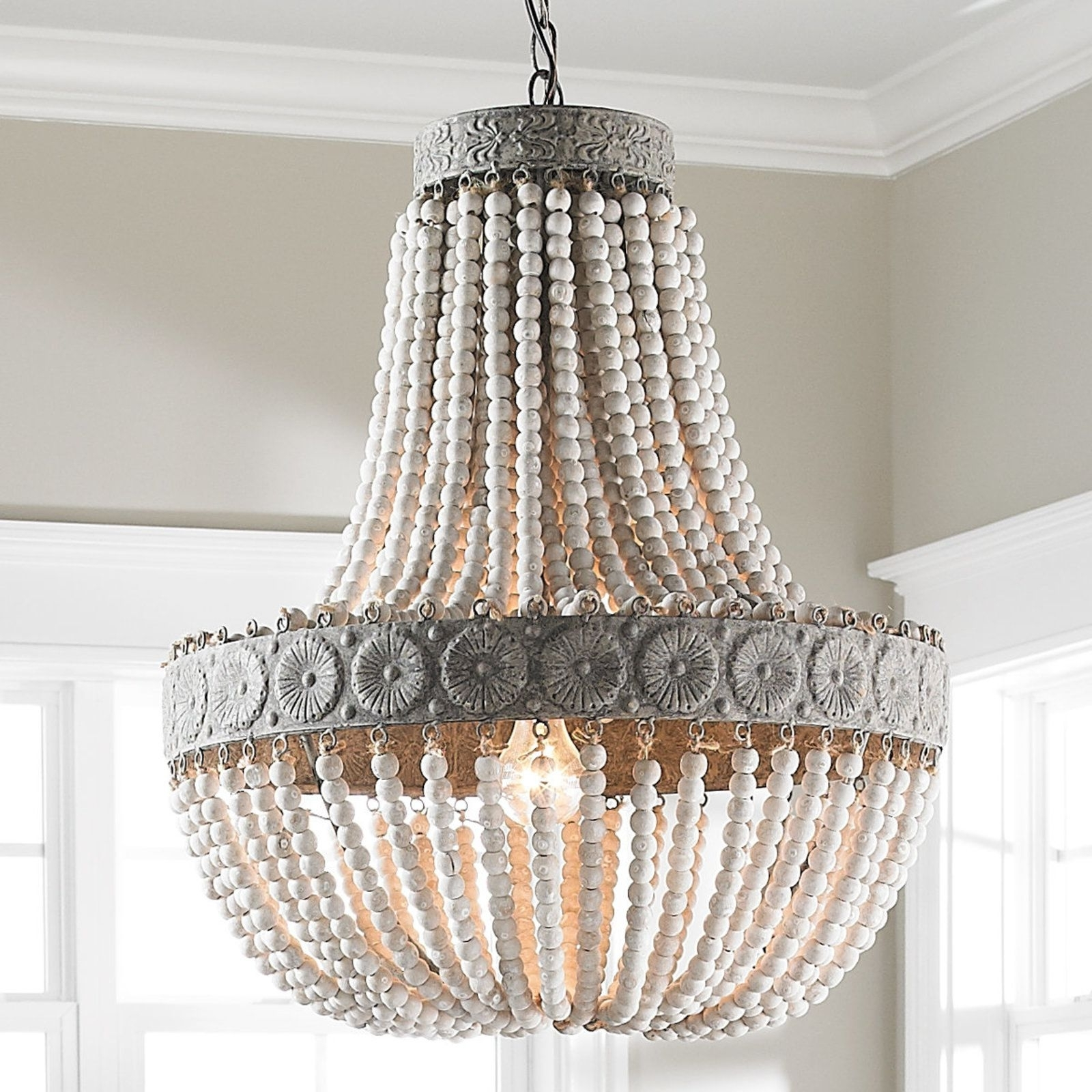 Wood Bead Chandelier, Aged Wood And