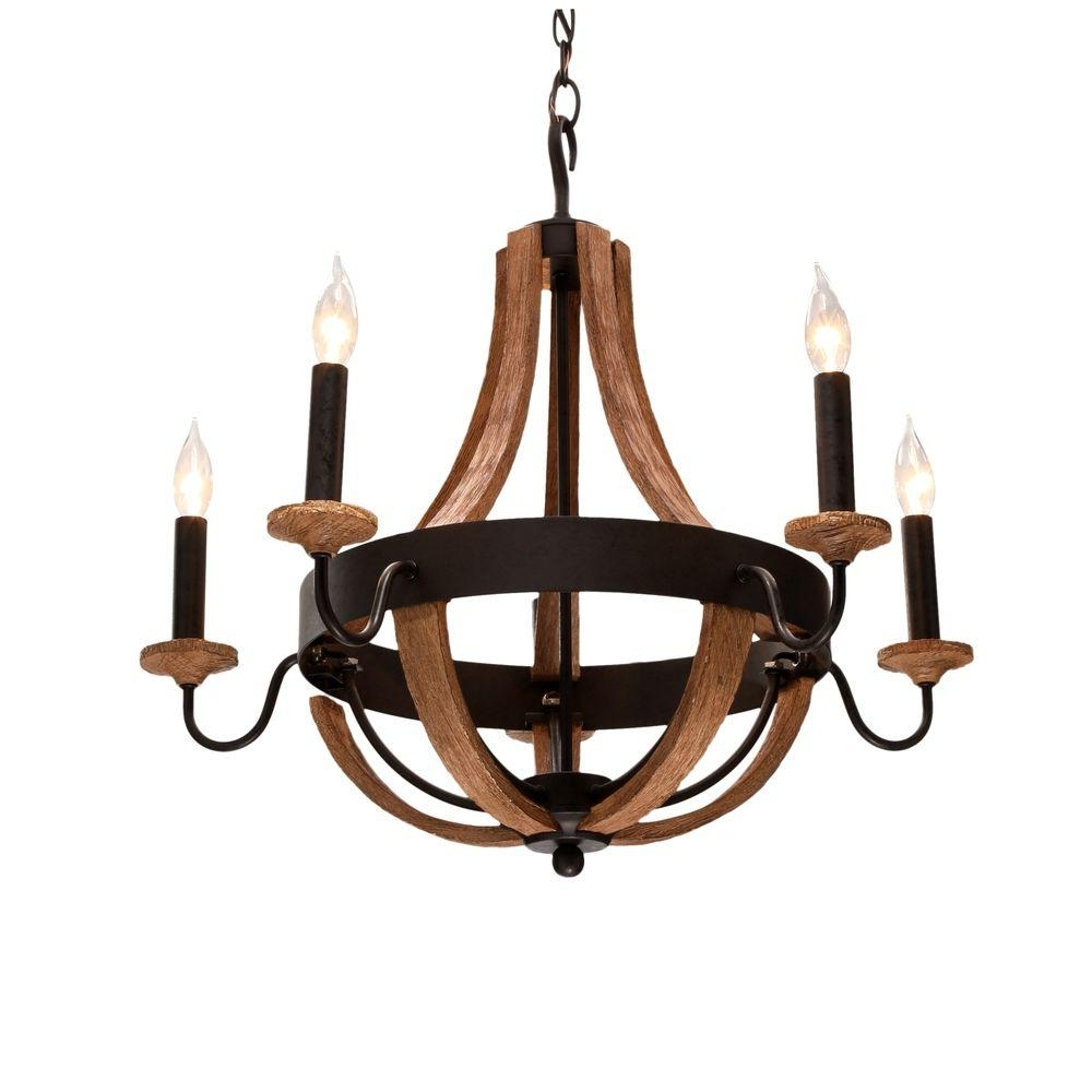 Wood – Chandeliers – Lighting – The Home Depot Inside Most Popular Wooden Chandeliers (View 7 of 15)