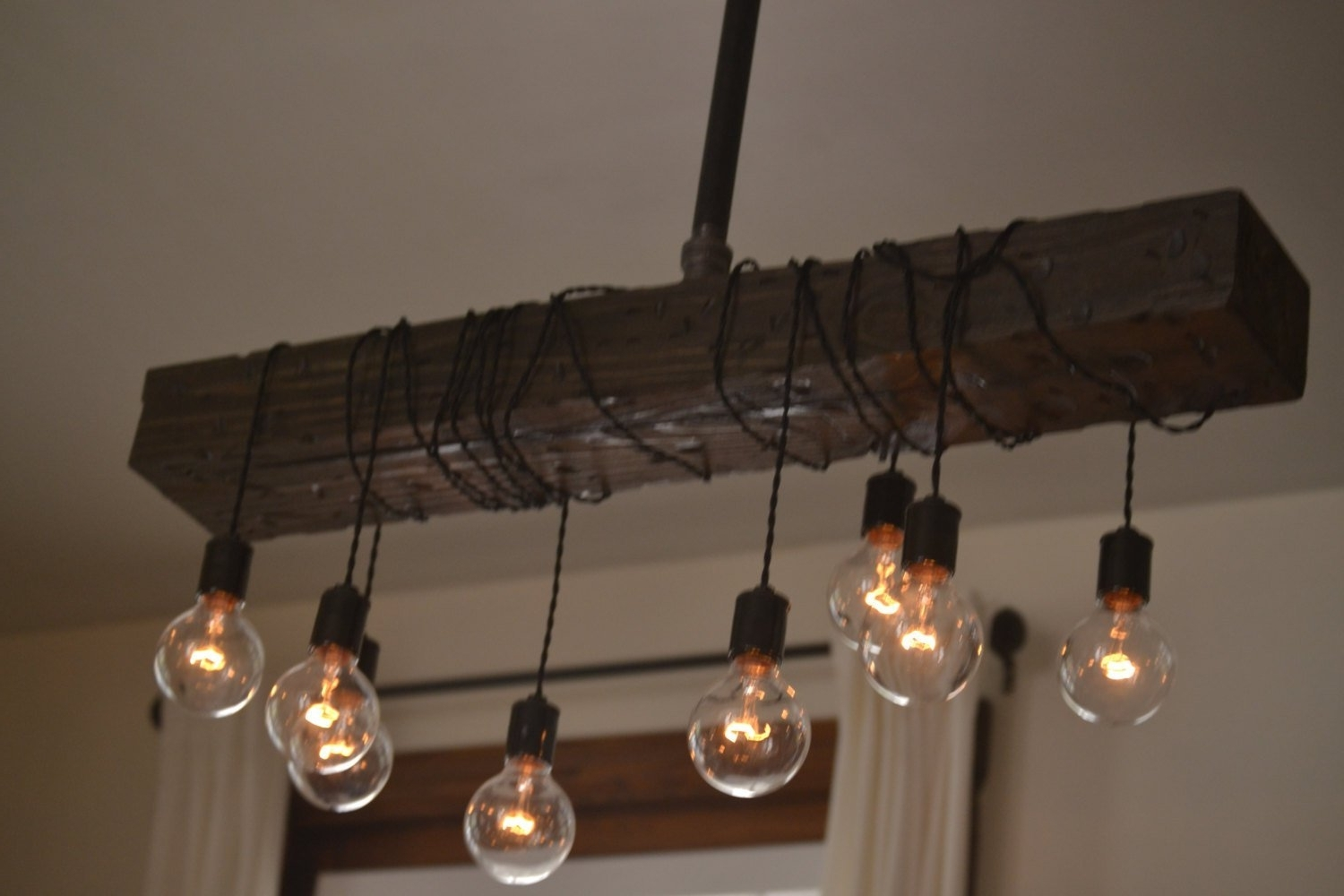 Wooden Chandeliers Inside Current Fayette Wood Beam Chandelier – Solid Beam Downlight With 8 Lights (View 15 of 15)