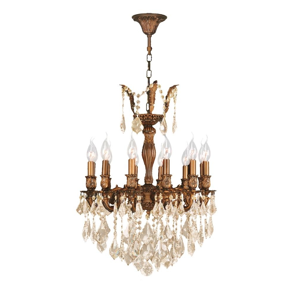 Worldwide Lighting Versailles 12 Light French Gold Chandelier With Throughout Well Known French Gold Chandelier (View 7 of 15)