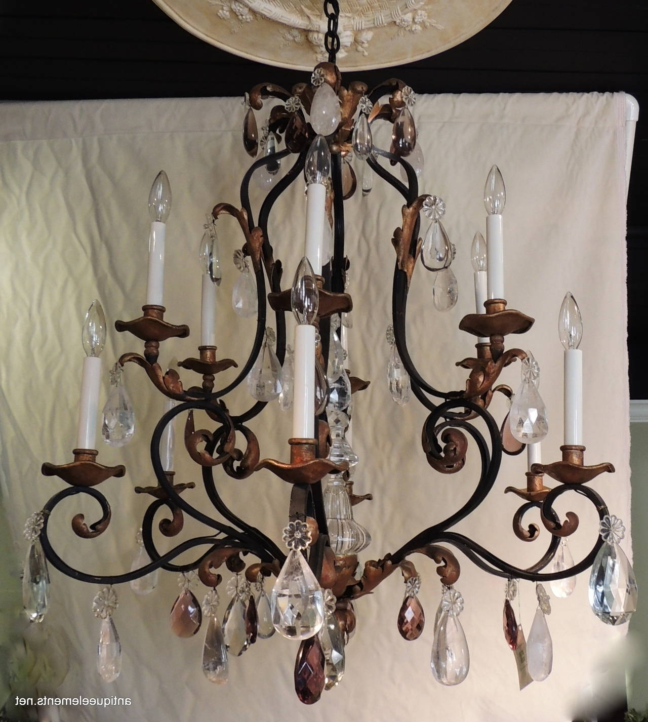 Wrought Iron Chandelier In Most Recent Beautiful Large Wrought Iron And Gilt Chandelier With Amethyst And (View 9 of 15)