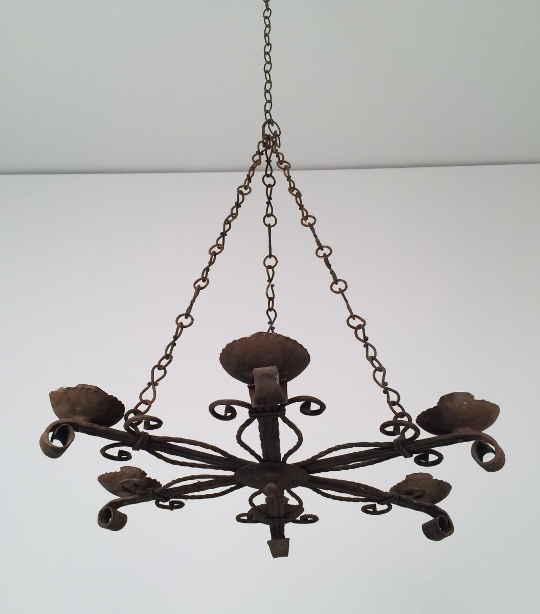 Wrought Iron Chandelier With 5 Candle Holders, 1920S For Sale At Pamono Pertaining To Famous Wrought Iron Chandeliers (View 10 of 15)