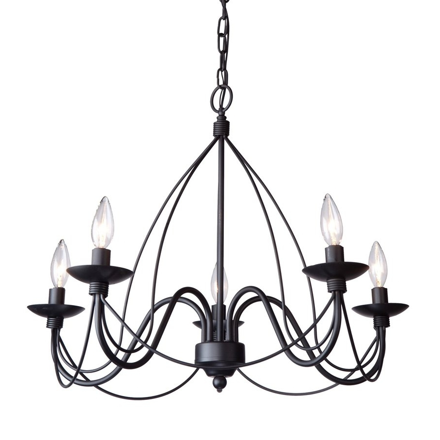 Wrought Iron Chandelier With Regard To Well Known Shop Artcraft Lighting Wrought Iron 24 In 5 Light Ebony Black (View 13 of 15)
