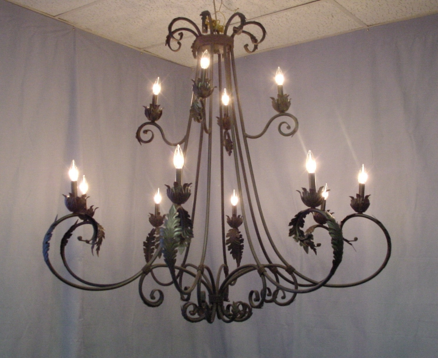 Wrought Iron Chandeliers Pertaining To Best And Newest Wrought Iron Chandeliers With Crystal Accents : Lamp World (View 12 of 15)