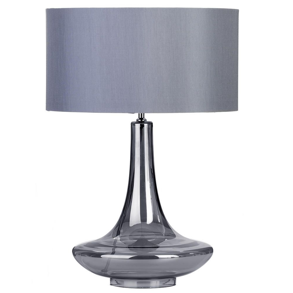 1 Light Gourd Style Table Lamp With Grey Shade – Smoked Glass For Fashionable Debenhams Table Lamps For Living Room (View 3 of 15)