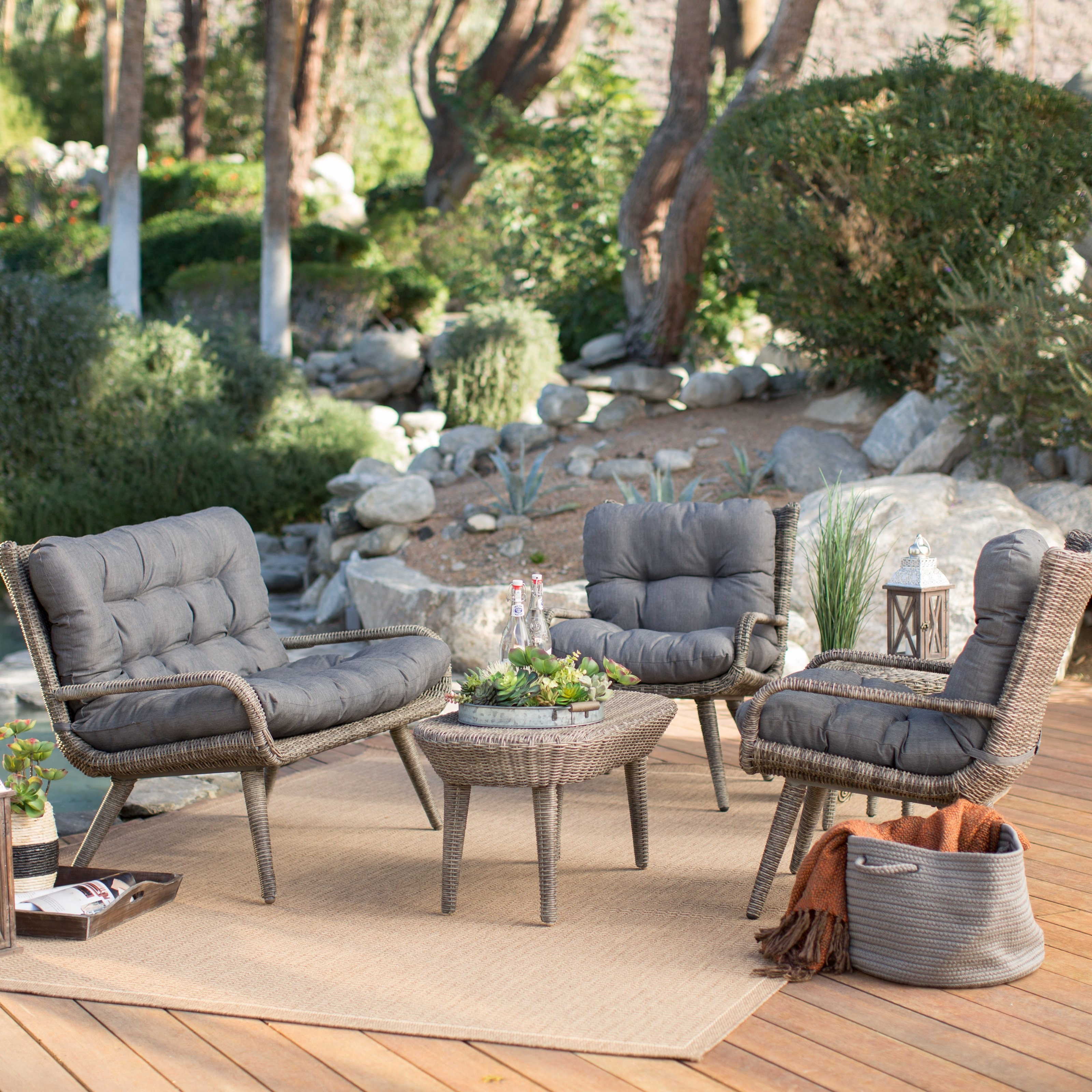 2017 Furniture: Exciting Outdoor Furniture With Gray Cushions On Beige Within Wood Patio Furniture Conversation Sets (View 14 of 15)