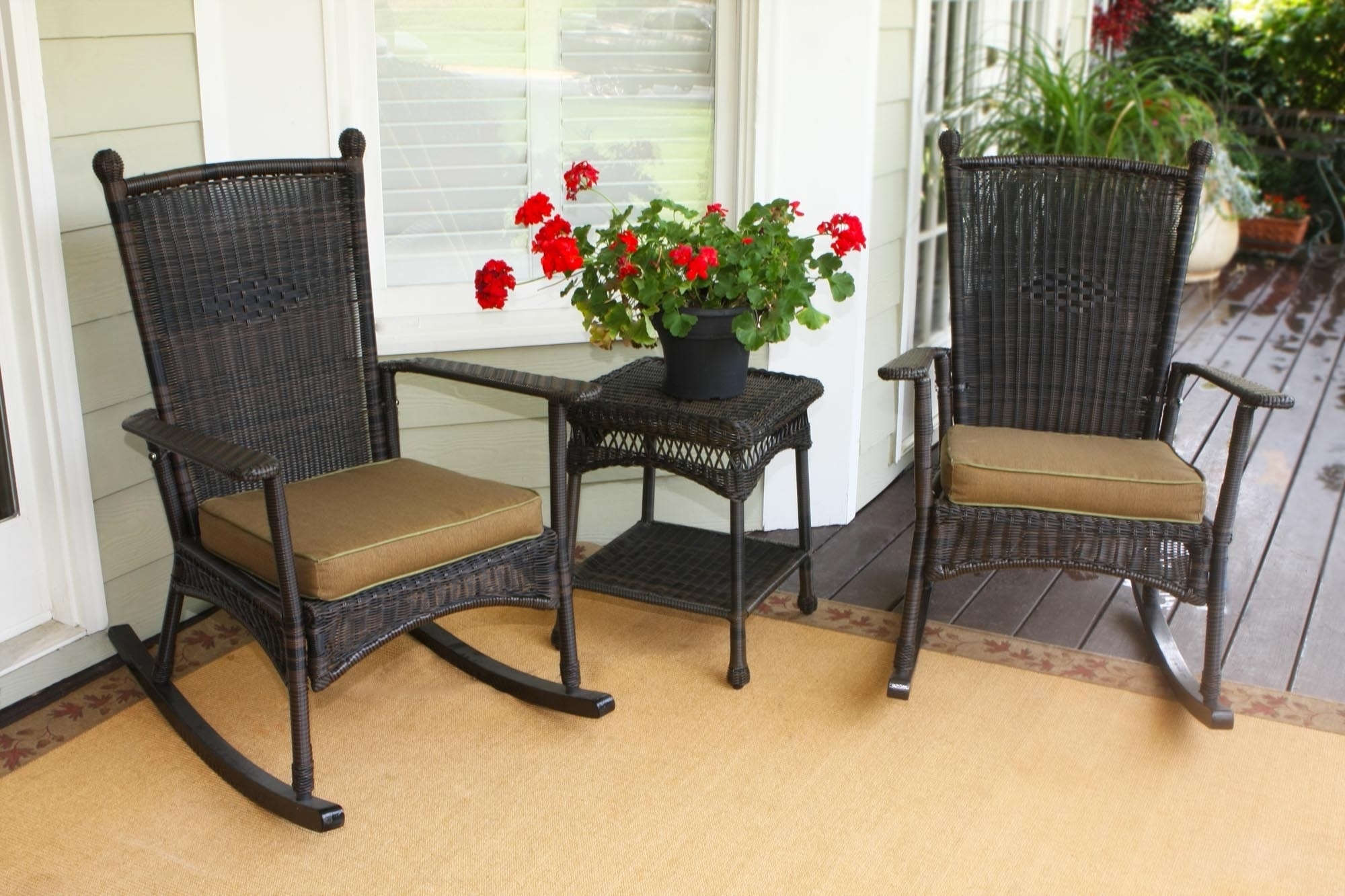 2017 Furniture: Tortuga Outdoor Portside Classic Rocking Chair Set In In Patio Rocking Chairs And Table (View 1 of 15)
