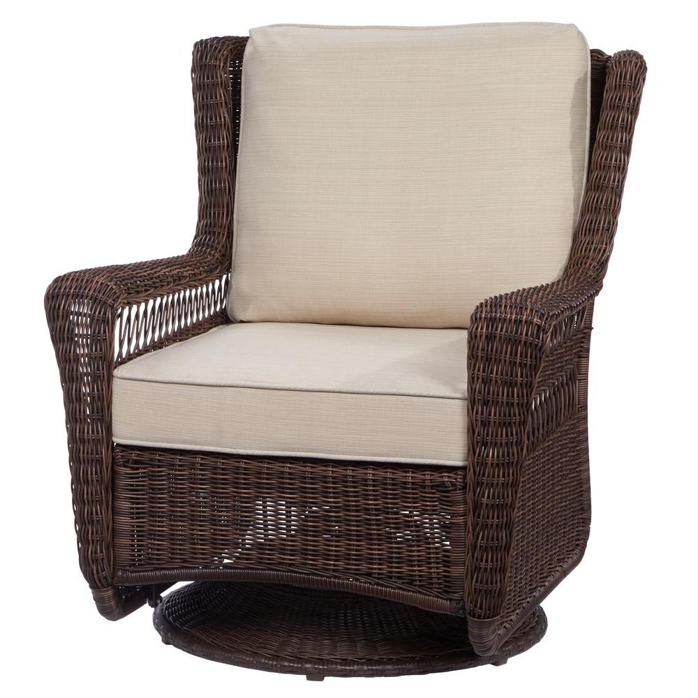 2017 Hampton Bay Park Meadows Brown Swivel Rocking Wicker Outdoor Lounge Regarding Patio Rocking Swivel Chairs (View 2 of 15)