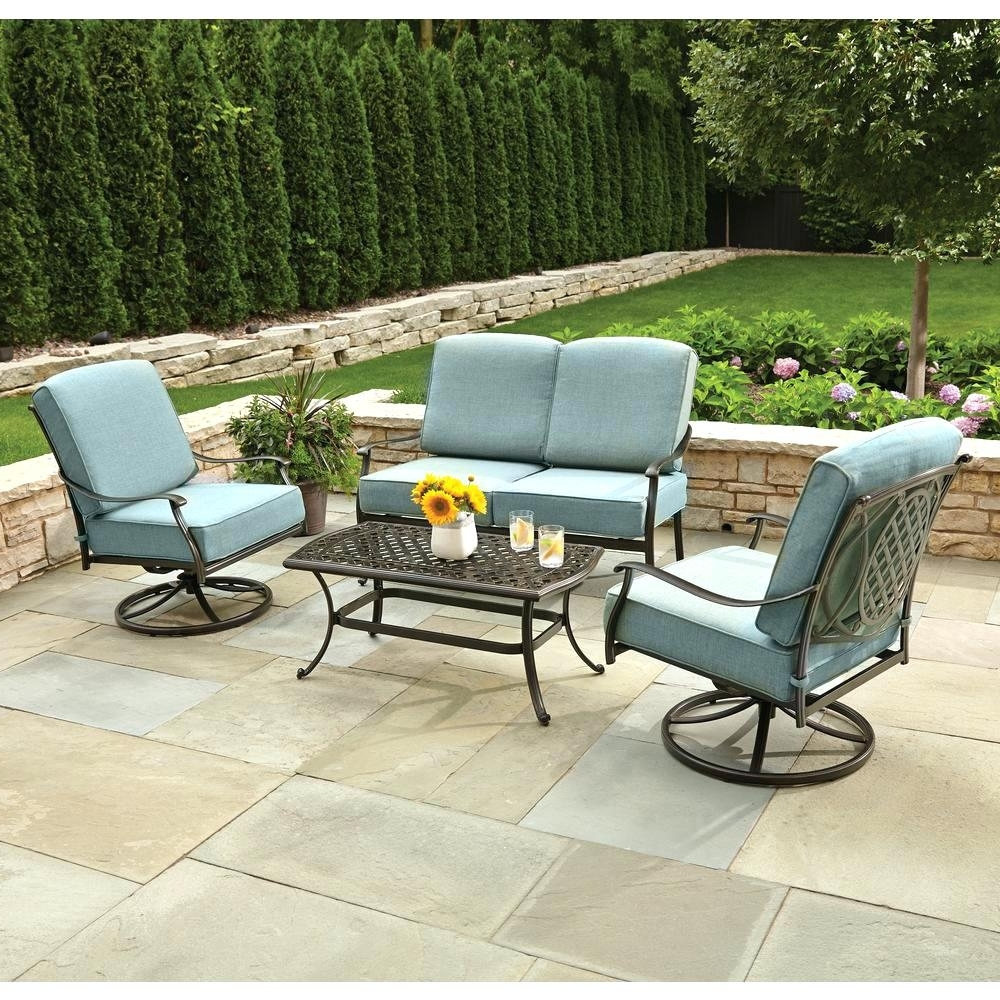 2017 Martha Stewart Conversation Patio Sets Regarding Patio : Navy Blue Patio Set Seating Martha Stewart Hill Settee (View 1 of 15)