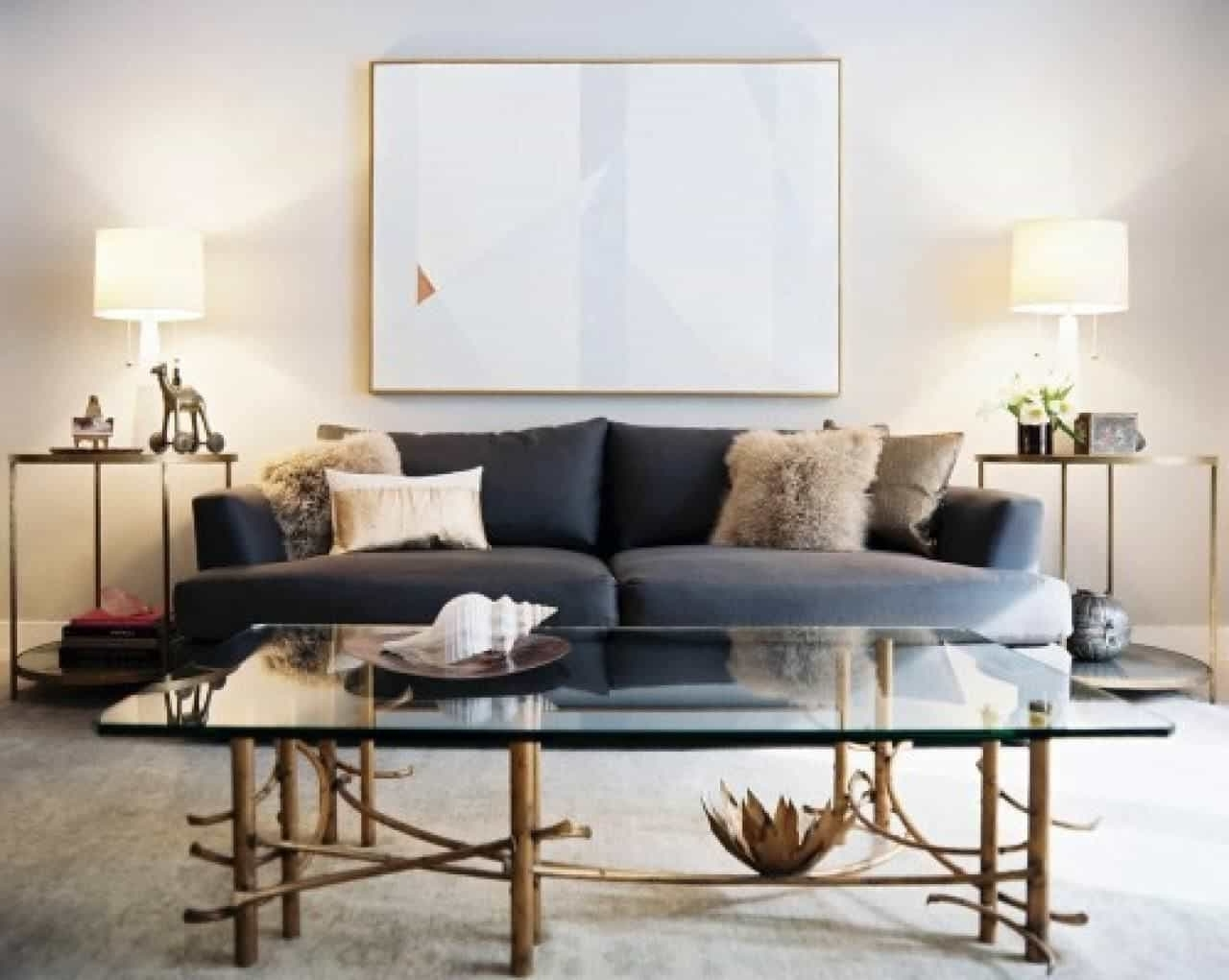 2017 Modern Living Room With Grey Sofa And Side Tables With Table Lamps With Contemporary Living Room Table Lamps (View 1 of 15)