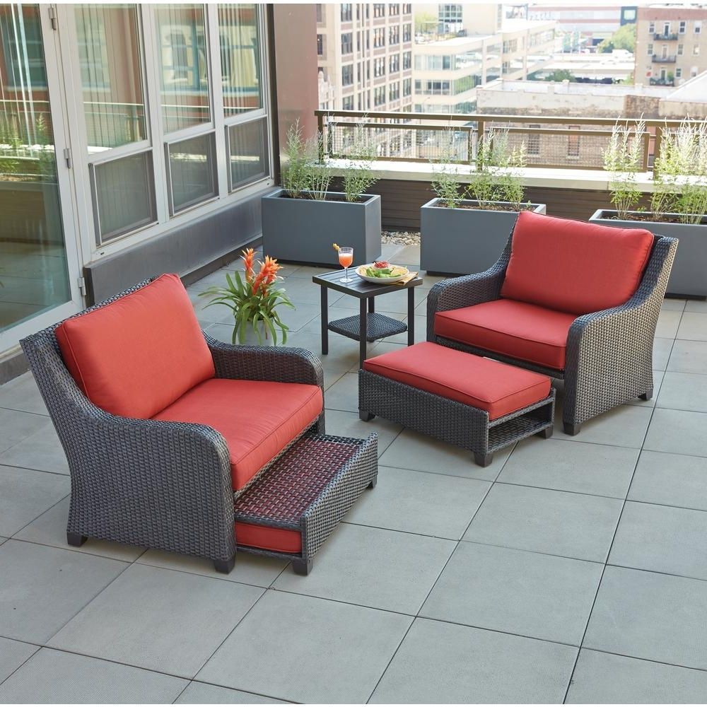 2017 Patio Furniture Conversation Sets At Home Depot Intended For Hampton Bay Sauntera 5 Piece Wicker Patio Seating Set With Red (View 15 of 15)