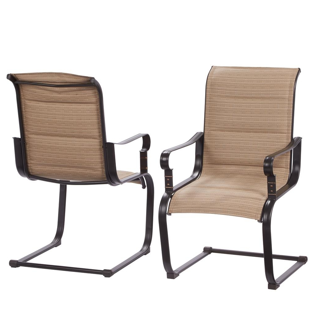 2017 Patio Sling Rocking Chairs With Hampton Bay Belleville Rocking Padded Sling Outdoor Dining Chairs ( (View 13 of 15)