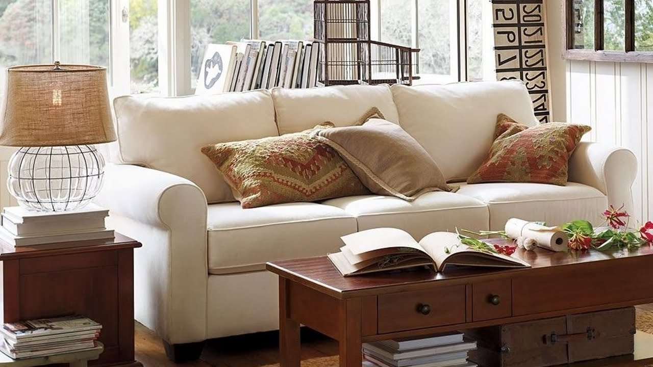 2017 Pottery Barn Table Lamps For Living Room Pertaining To Pottery Barn Living Room With White Sofa And Table Lamp – Pottery (View 1 of 15)